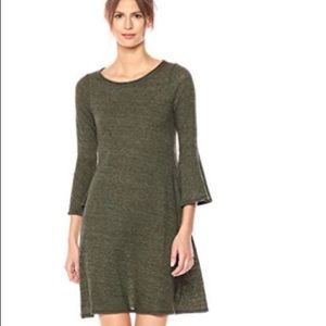 Three Dots olive green bell sleeve boho dress